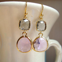 Gorgeous Lavender and Gray Glass Dangle by DesignsbyJocelyn