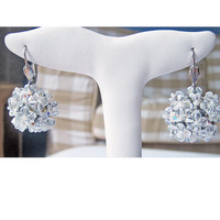 Bridal earrings, Wedding earrings - Handwoven, Swarovski Crystal Earrings, White, Silver - Delicate Snowflake Features