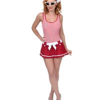 Red & White Striped Skirted Coronado Swimsuit