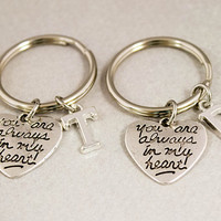 Two Best Friend Key Chains - You Are Always in My Heart Keychains - Inital Monogram Keychain - Custom Alphabet Charm - Best Friend Gift