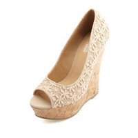 CROCHETED LACE PEEP TOE PLATFORM WEDGES