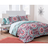 Walmart: Formula Seafoam Medallion Reversible Complete Bedding Set, Green