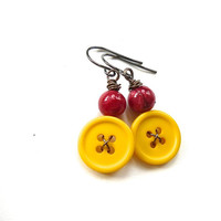 Bright Yellow with Red Button Earrings