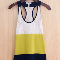 Essential Summer Color Block Tank, Lime