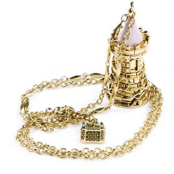 Antique Gold Plated Perfume Bottle Tower Pendant Necklace From Disney Couture : TruffleShuffle.com