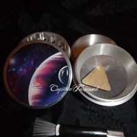 Planets Galaxy Space 4 Piece Herb Grinder Pollen Screen and Catcher Brush from Cognitive Fashioned
