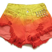 Ombre dip dye high waist shorts XS by deathdiscolovesyou on Etsy