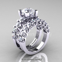 Modern Vintage 14K White Gold 3.0 Ct White Sapphire Designer Wedding Ring Bridal Set R142S-14KWGWS