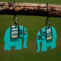 Turquoise Elephant Earrings Hand Painted Womens by HorakovaDesigns