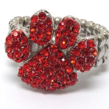 Crystal Accented Paw Red Stretch Ring
