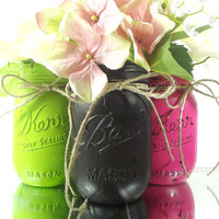 Home Decor, Three Hand Painted Mason Jars - Rustic - Style, Painted Mason Jars - Lime Green, Black and Pink