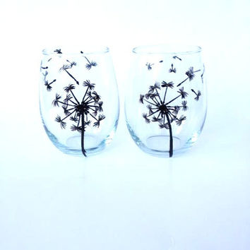 Dandelion hand painted stemless wine glass