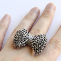 Bow Ring Knitted In Gun Metal Grey | Luulla