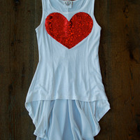 Sequin Heart High Low/Hi Lo Tank w/ Chiffon Panel Back -  w/Red Sequin Heart