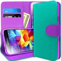 [Stand View] Caseology Samsung Galaxy S5 Premium PU Leather [Wallet Case] with Built-in Media Stand, ID Credit Card / Cash Slots and Inner Pocket [Turquoise Mint / Purple] (For Verizon, AT&T Sprint, T-mobile, Unlocked)