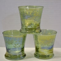 Vintage Preziosi Glass Lavorato a Mano Italy Art Glass Iridescent Green Glass Barware PanchosPorch