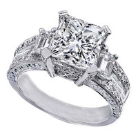 Engagement Ring - Princess Cut Diamond Vintage style Engagement Ring Setting with Emerald Cut side Stones - ES252PR