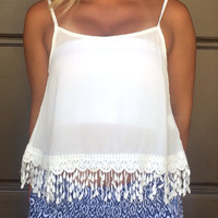 Secret Charm Lace Crop Tank - WHITE