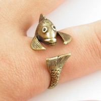 Vintage-Gold Fish Wrap Ring | KejaJewelry - Jewelry on ArtFire