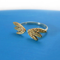 Silver adjustable Brass Wing Ring by MIKOTITI on Etsy