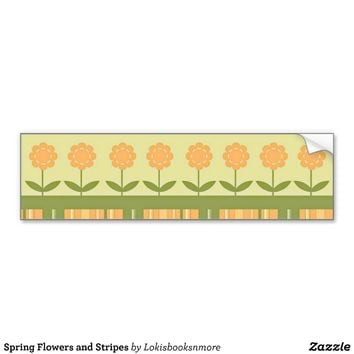 Spring Flowers and Stripes Bumper Stickers from Zazzle.com