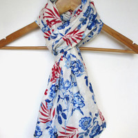Red, White, and Blue Floral Print Infinity Scarf, Fourth of July, Patriotic Scarf, Beach Scarf, 4th of July, Flower Print Scarf