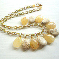 Chunky Beaded Necklace - Neutral Stone by ASimpleKindOfFancy