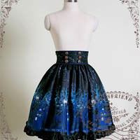 """Time Lord"" Cyber Gothic High Waist Skirt*2colors"