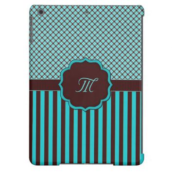Monogram Tartan Lt Teal, chocolate iPad Air Case