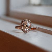 reserved down payment -1.15ct Peach champagne tear drop sapphire 14k rose gold diamond ring