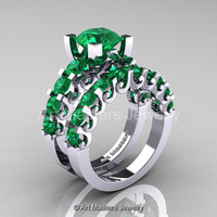Modern Vintage 14K White Gold 3.0 Ct Emerald Designer Wedding Ring Bridal Set R142S-14KWGEM
