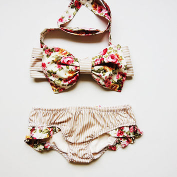 Custom Listing for Heather. Vintage Bow Bandeau Sunsuit Cotton Bikini.Pita Pata DiVa Halter Neck Flowers Roses stripes Sunbathing. Sexy cu