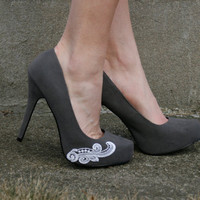 Grey Heels by walkinonair on Etsy