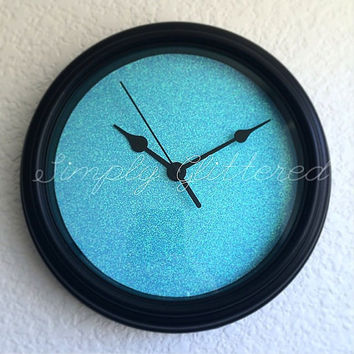 Pale Blue Glitter Wall Clock