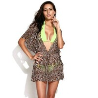Zlyc Women's Sexy Sheer Caftan with Drawstring at Waistline Beachwear