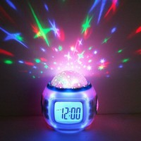 Starry Sky LED Projector Music Alarm Clock with Backlit, Calendar, and Thermometer (White)-Alarm Clock