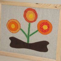Applique Poppy Wall Hanging by CountryVillagePrims on Etsy