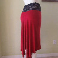 Tango Argentino & Salsa asymmetric Skirt red Size 0 to 20 with high Waist stretchy Lace  Dancewear Gothic Burlesque