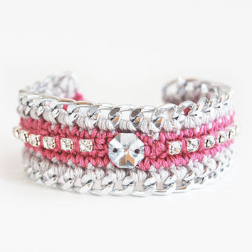 Chunky chain bracelet, pink crochet bracelet, rhinestone bracelet with silver colored chain, pink and silver