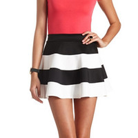 STRIPED HIGH-WAISTED SKATER SKIRT