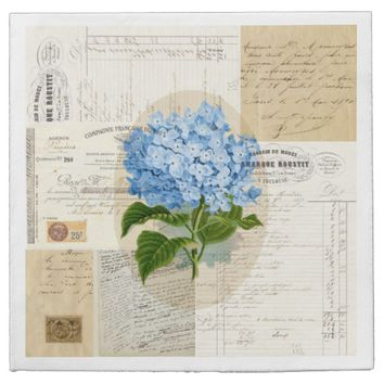 Vintage Blue Hydrangea French Ephemera Napkins