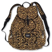Victoria's Secret PINK Backpack Leopard Cheetah Canvas School Handbag Book Bag Tote~Sold Out