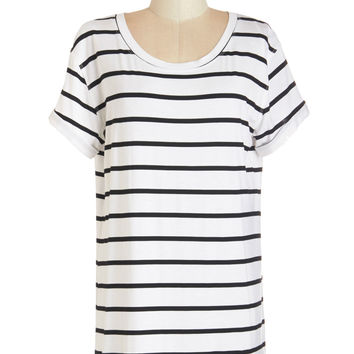 ModCloth Long Short Sleeves Simplicity on a Saturday Tunic in White Stripes