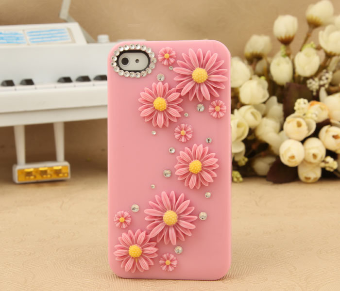 iPhone 4S 4G 3GS iPod Touch Pink Flower Crystal Cute Protective Case