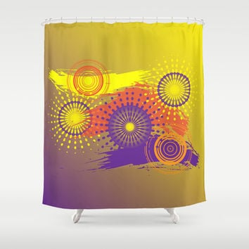 Orange Pop Shower Curtain by Ramon Martinez Jr