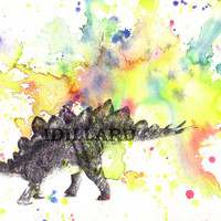 Stegosaurus Dinosaur Watercolor Painting - 5 X 7 Print Watercolor Painting Great Decor Children Kids Wall Art