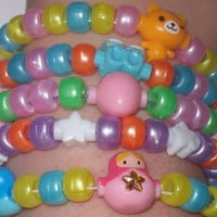 Kawaii Charms Kandi Bracelets  Set of 5  Rave / by onsecretwings