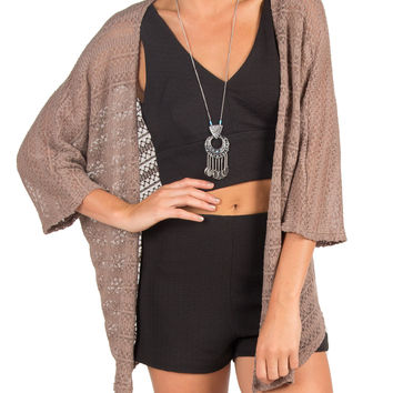 Mixed Knit Cardigan - Brown