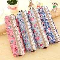 Floral Lace Pen Pencil Cosmetic Zipper Storage Case Pouch Bag Purse