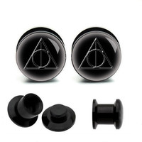 Harry Potter Dealthly hollows  Acrylic Piercing Ear Plug, UV  tunnel  ear  plugs,ear plugs jewelry,guage earrings,00 gauge plugs